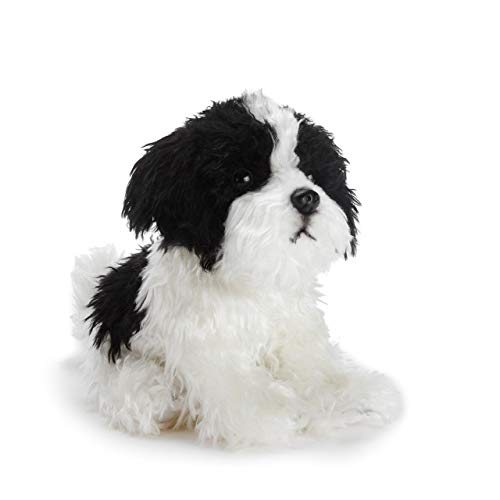 DEMDACO Sitting Small Havanese Dog Black and White Children's Plush Stuffed Animal
